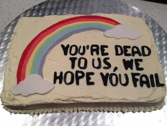 Pleading Rainbow is listed (or ranked) 2 on the list Funny Farewell Cakes For Your Coworker Who Quits Next