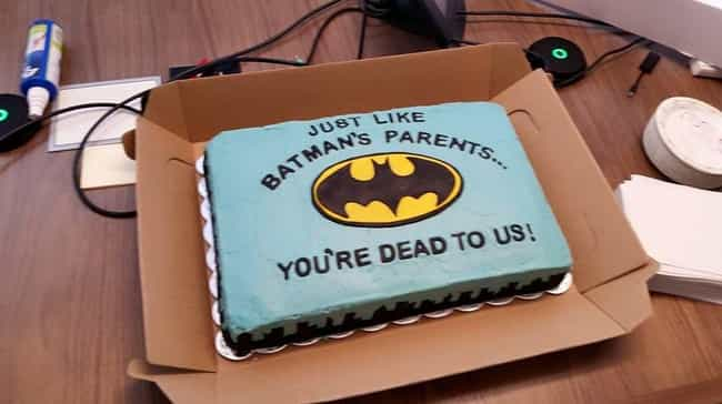 Say Goodbye, Bats is listed (or ranked) 3 on the list Funny Farewell Cakes For Your Coworker Who Quits Next