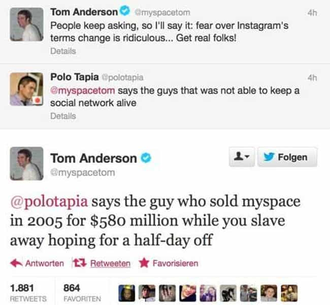 'You're In Myspace' is listed (or ranked) 1 on the list The Best Celebrity Clapback Tweets Of All Time