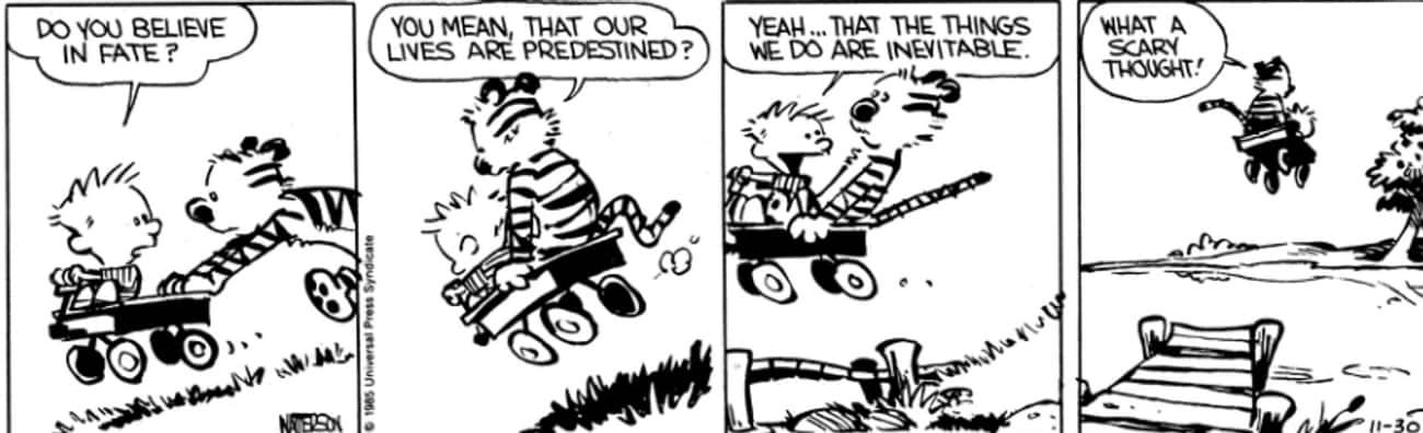 Fate, Destiny, And Predestinat is listed (or ranked) 2 on the list The Surprisingly Dark Political Philosophy of Calvin And Hobbes That You Definitely Missed As A Kid