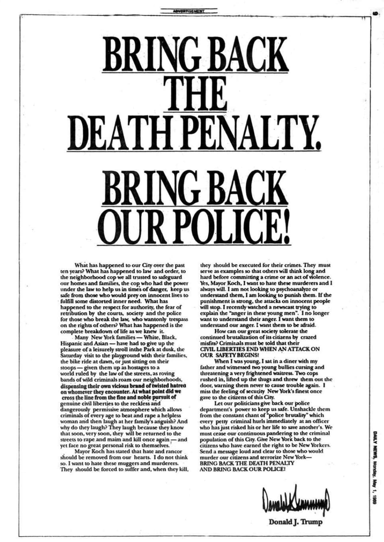 Donald Trump Took Out An Ad In is listed (or ranked) 1 on the list The History of Donald Trump and The Central Park Five