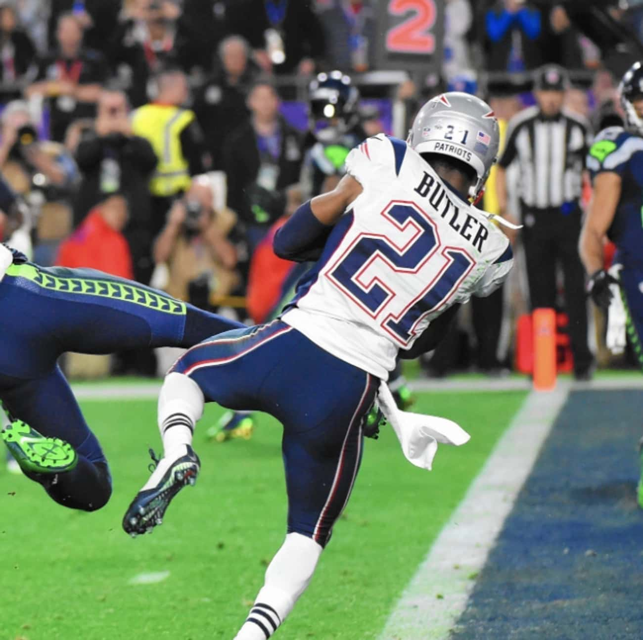 Malcolm Butler's Game-Seal is listed (or ranked) 3 on the list The Greatest Moments in Super Bowl History
