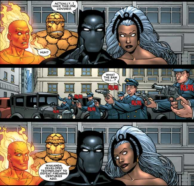 T'Challa Could End Gun Vio... is listed (or ranked) 4 on the list Super Intense Black Panther Moments In The Comics You Didn't See In The Movie