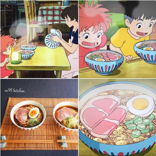 Ponyo's Ham Ramen is listed (or ranked) 1 on the list This Instagram Artist Is Creating Mouthwatering IRL Miyazaki Meals