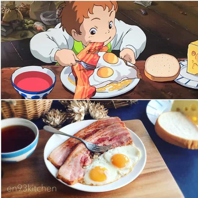 Bacon And Eggs From Howl's... is listed (or ranked) 2 on the list This Instagram Artist Is Creating Mouthwatering IRL Miyazaki Meals