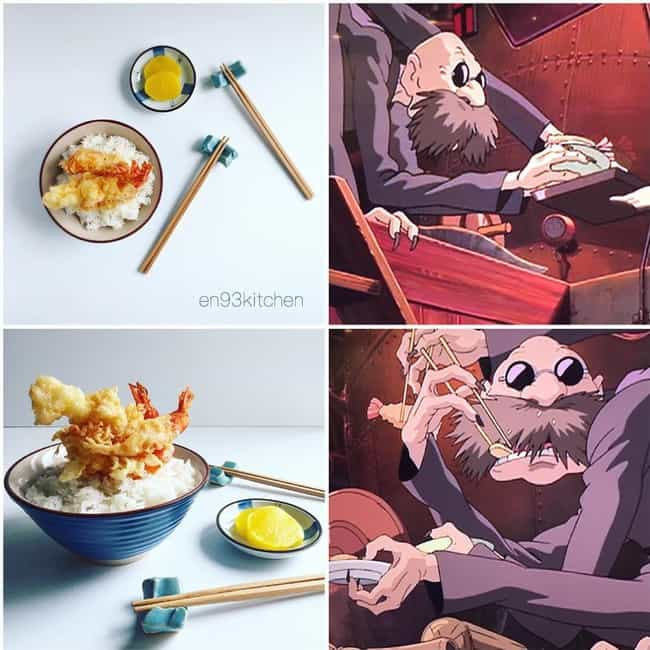 Rice And Tempura Shrimp Cateri... is listed (or ranked) 2 on the list This Instagram Artist Is Creating Mouthwatering IRL Miyazaki Meals