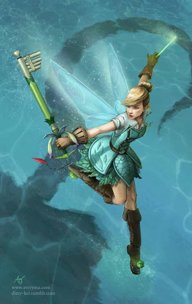 Tinkerbell Takes Her Enemies T... is listed (or ranked) 3 on the list This Artist Transforms Your Favorite Disney Characters Into Keyblade Warriors, And They Look Epic AF