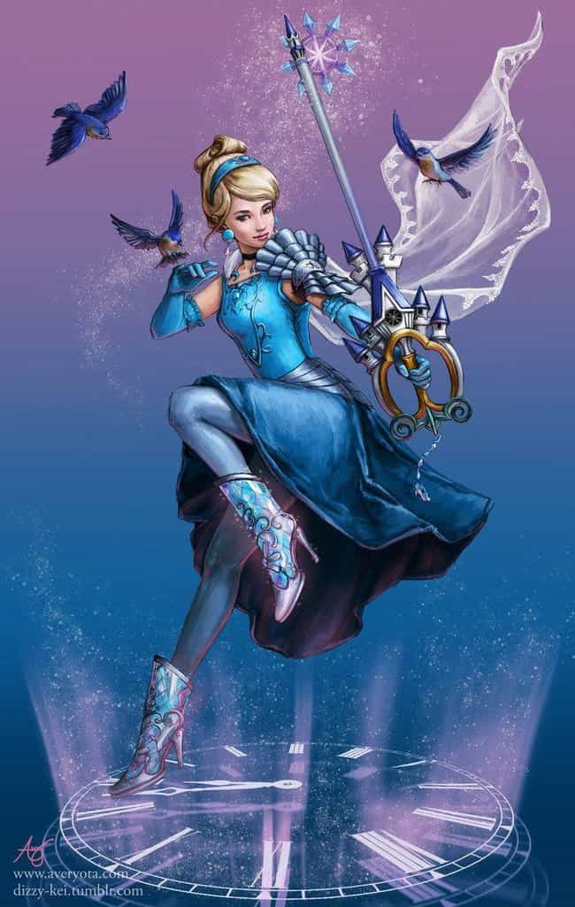 Cinderella Is Ready To Wipe Th... is listed (or ranked) 1 on the list This Artist Transforms Your Favorite Disney Characters Into Keyblade Warriors, And They Look Epic AF