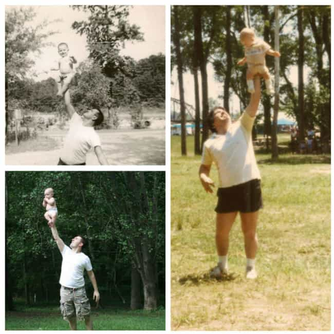 A Man, His Dad, and His Grandp... is listed (or ranked) 3 on the list 26 Times People Recreated Their Grandparents' Photos