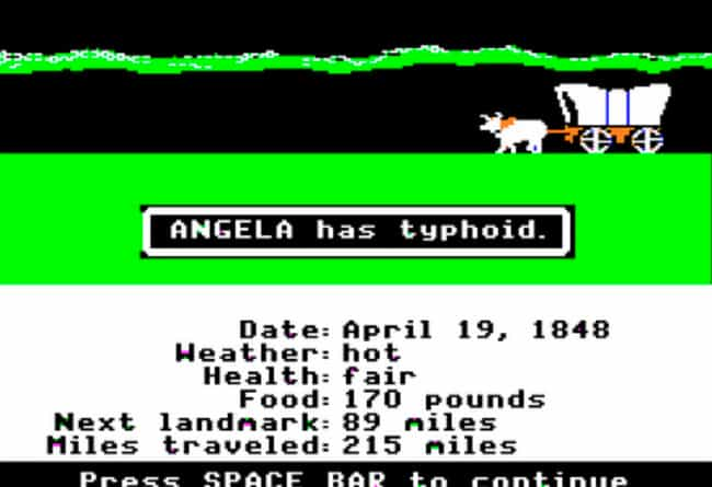 Typhoid is listed (or ranked) 3 on the list Remember Playing 'Oregon Trail'? Here's How Those Causes Of Death Would Have Played Out IRL