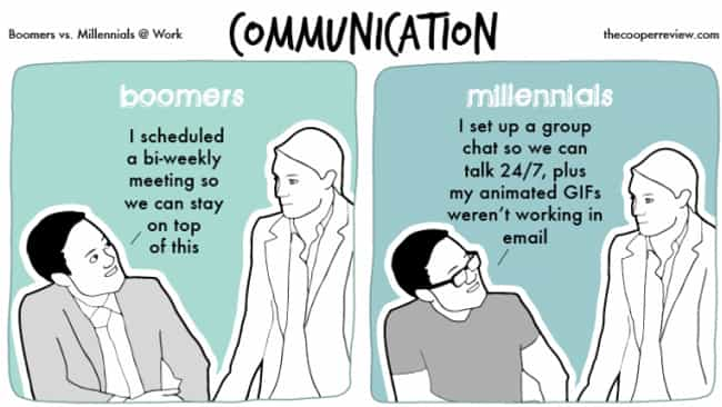 Communication Is Key is listed (or ranked) 1 on the list Someone Illustrated The Difference Between Millennials And Baby Boomers In 10 Comics