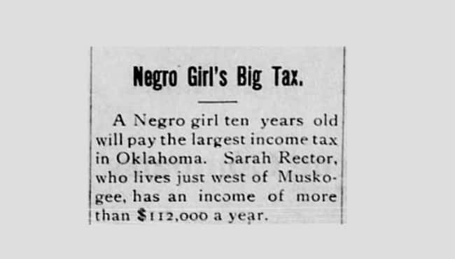 Her Story Made Headlines Aroun is listed (or ranked) 7 on the list Money Over Race: The Story of Sarah Rector, The Black Girl So Wealthy She Was Considered To Be White