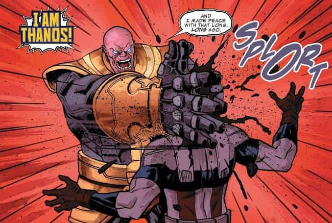 Thanos Smashes Sam Wilson's Head In His Hands