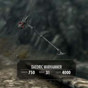 Daedric Warhammer is listed (or ranked) 19 on the list The Rarest, Strongest Weapons In Skyrim, Ranked