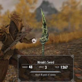 Miraak's Sword is listed (or ranked) 16 on the list The Rarest, Strongest Weapons In Skyrim, Ranked