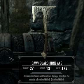 Dawnguard Rune Axe is listed (or ranked) 21 on the list The Rarest, Strongest Weapons In Skyrim, Ranked
