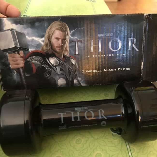 Thor Dumbbell Alarm Clock is listed (or ranked) 3 on the list The Weirdest Marvel Tie-In Products