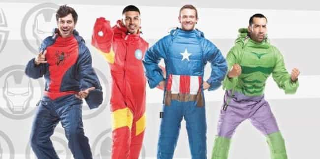 Wearable Avengers Sleeping Bag is listed (or ranked) 2 on the list The Weirdest Marvel Tie-In Products