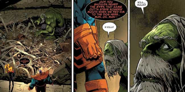 King Thanos Keeps The Hulk As ... is listed (or ranked) 2 on the list Badass Moments From The Comics That Show Thanos Is Stronger Than The Hulk