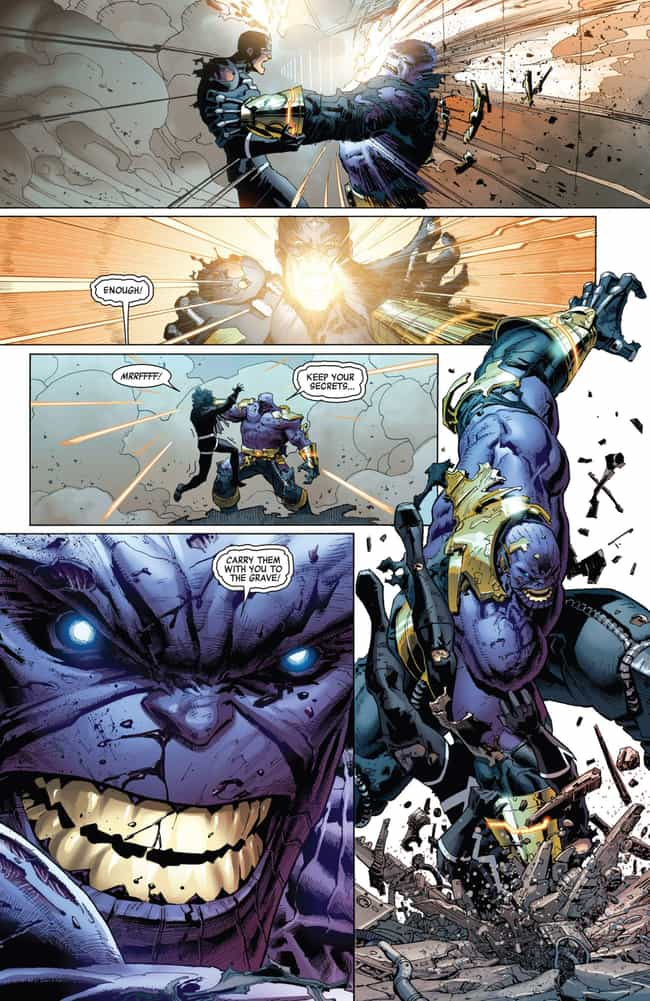 Thanos Shrugs Off Black Bolt's... is listed (or ranked) 3 on the list Badass Moments From The Comics That Show Thanos Is Stronger Than The Hulk