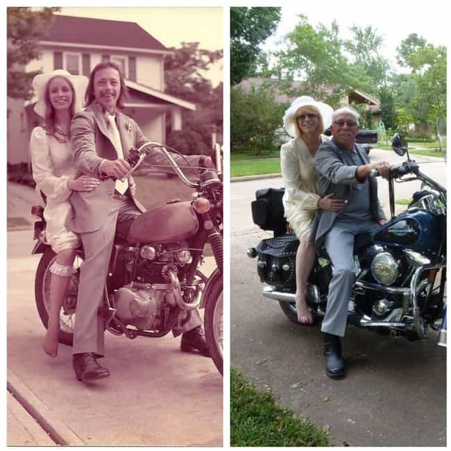 Bikers For Life Even 40 Years ... is listed (or ranked) 1 on the list Old Couples Recreate Their Old Photos
