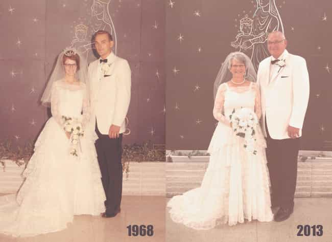 Mom And Dad After 45 Years is listed (or ranked) 3 on the list Old Couples Recreate Their Old Photos