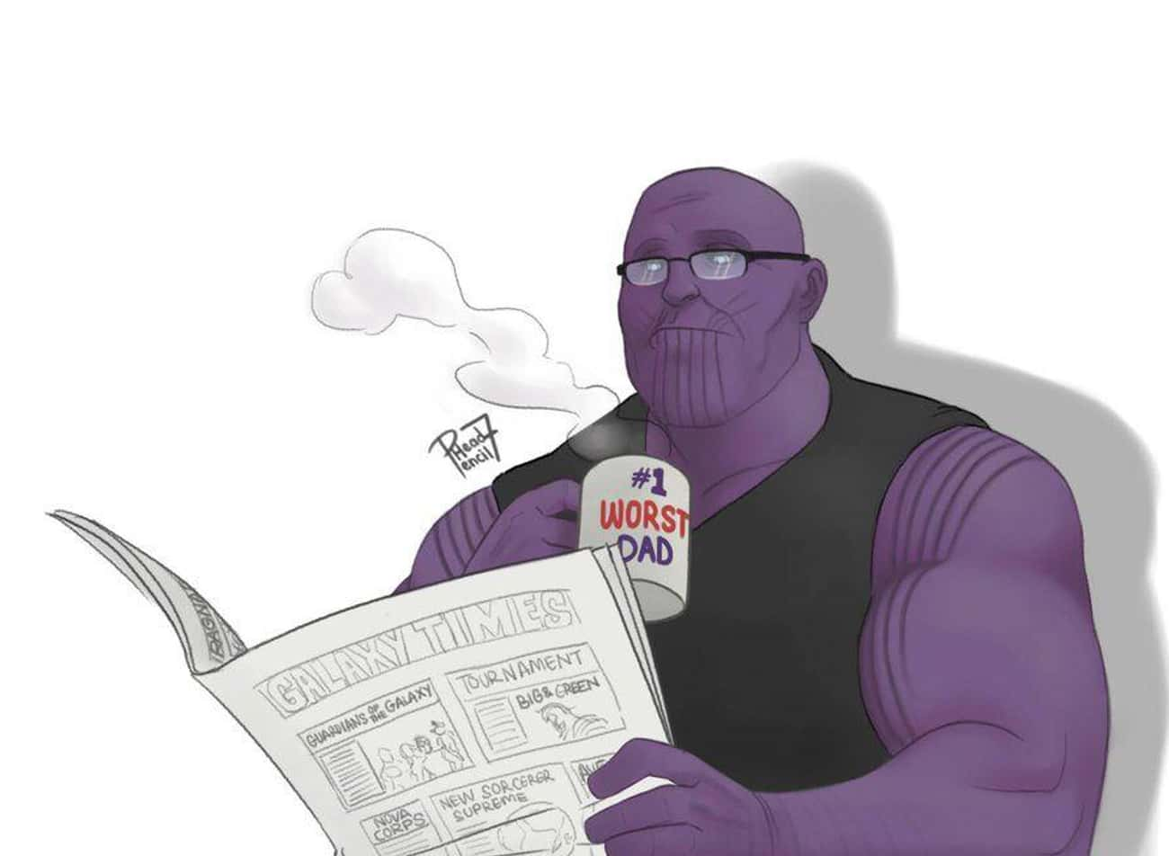 Morning Cup Of Joe is listed (or ranked) 2 on the list Fan Art Of Thanos Just Chillin'