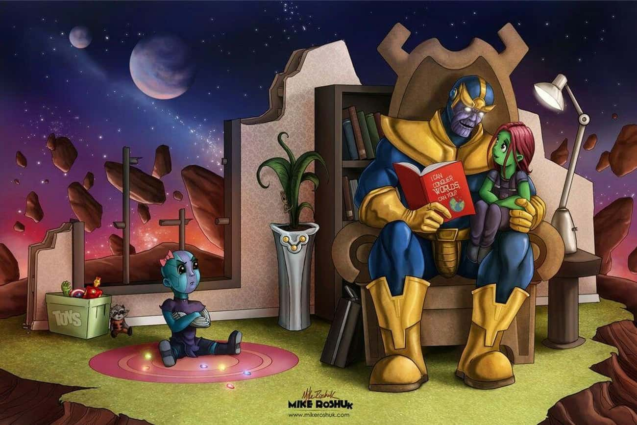 Thanos Playing Favorites is listed (or ranked) 3 on the list Fan Art Of Thanos Just Chillin'