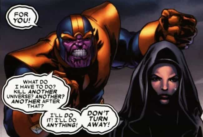 Thanos's Obsession With Death ... is listed (or ranked) 3 on the list Before You See 'Infinity War,' Here's Everything You Should Know About Thanos's Evil Plan