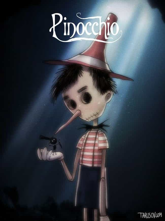 Pinocchio is listed (or ranked) 1 on the list This Artists Draws All Of Your Favorite Characters As Tim Burton Characters, And It's Super Spooky