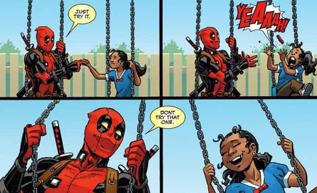 Deadpool Gives Up His Daughter... is listed (or ranked) 3 on the list How Deadpool Destroyed His Own Life