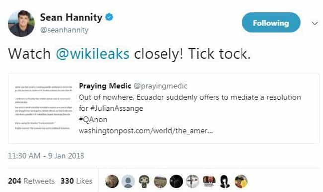 """The Storm"" and #QAnon is listed (or ranked) 4 on the list Every Conspiracy Theory Sean Hannity Has Supported, Ranked By Insanity"