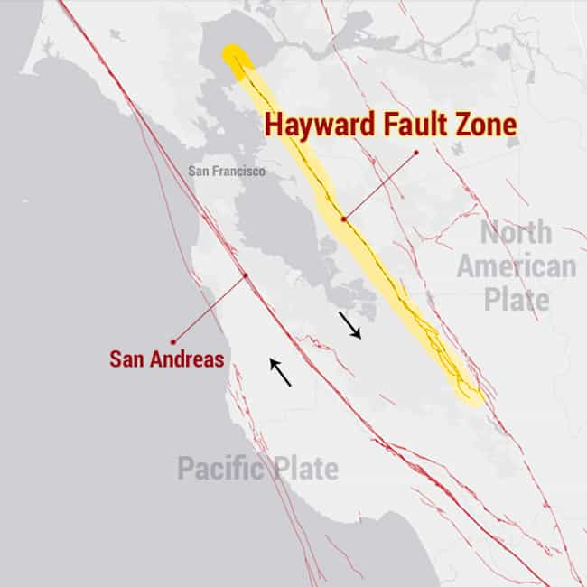 Hayward Fault Zone is listed (or ranked) 1 on the list The Most Dangerous Fault Zones in America
