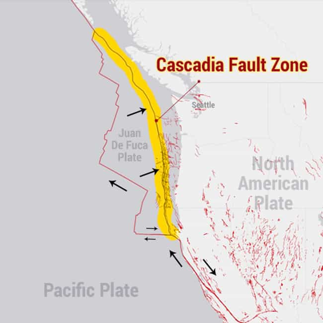 Cascadia Fault Zone is listed (or ranked) 2 on the list The Most Dangerous Fault Zones in America