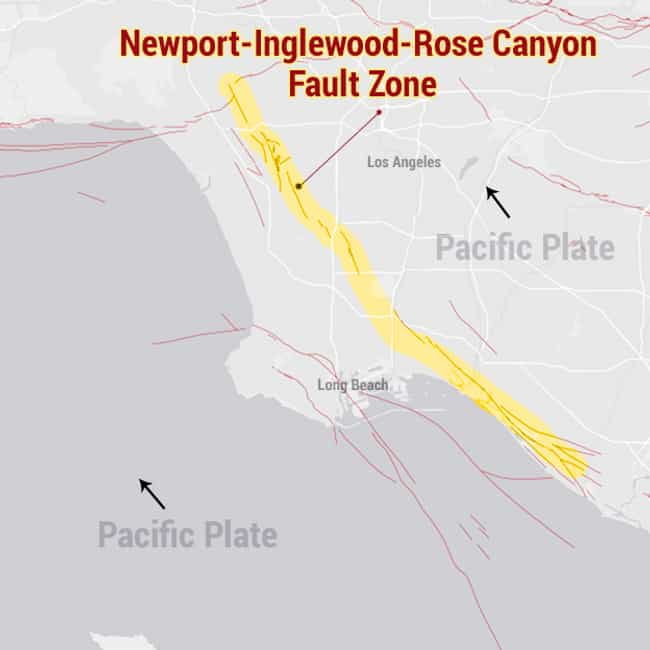 Newport - Inglewood - Rose Can... is listed (or ranked) 3 on the list The Most Dangerous Fault Zones in America