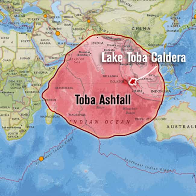 Toba Eruption is listed (or ranked) 3 on the list The Most Powerful Volcanic Eruptions in Earth's History