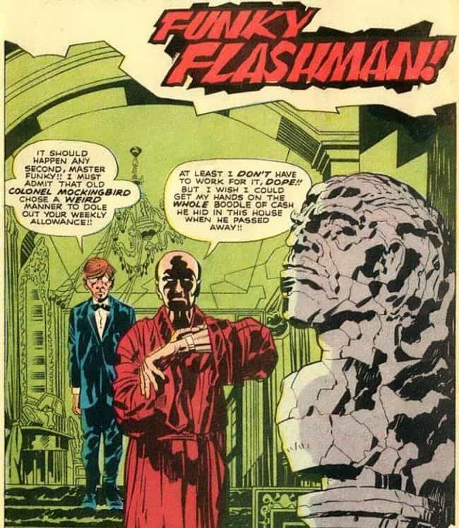 Through Flashman, Kirby ... is listed (or ranked) 4 on the list The DC Universe Has Been Taking Shots At Stan Lee In Their Comics For Decades