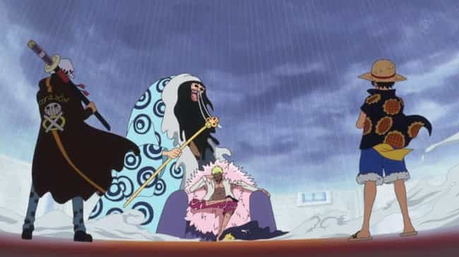 Luffy & Law Vs. Doflamingo — &... is listed (or ranked) 4 on the list The Greatest 2 Vs. 1 Anime Fights of All Time