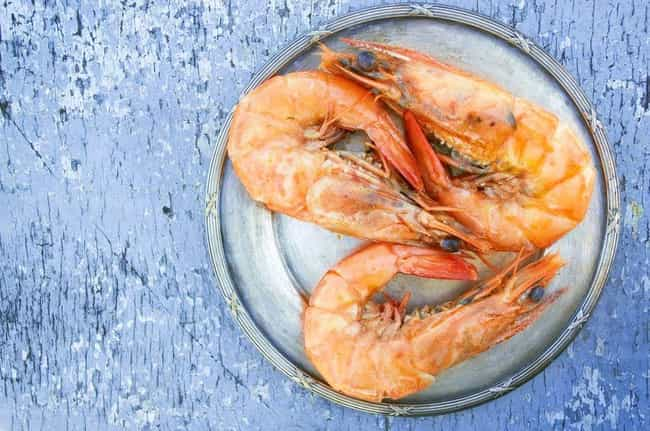 Shrimp is listed (or ranked) 4 on the list What Animals Looked Like Before Humans Started Breeding Them For Food
