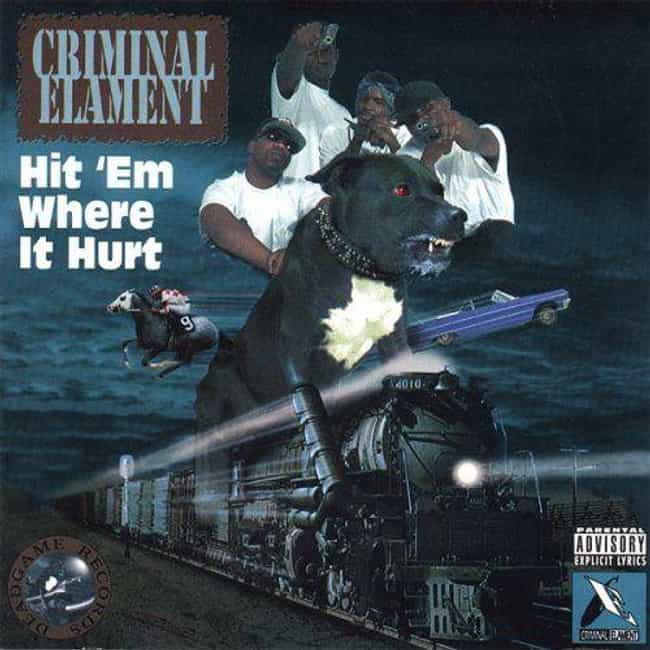 """Criminal Elament """"Hit '... is listed (or ranked) 1 on the list The Most Ridiculous Album Covers In Hip Hop History"""