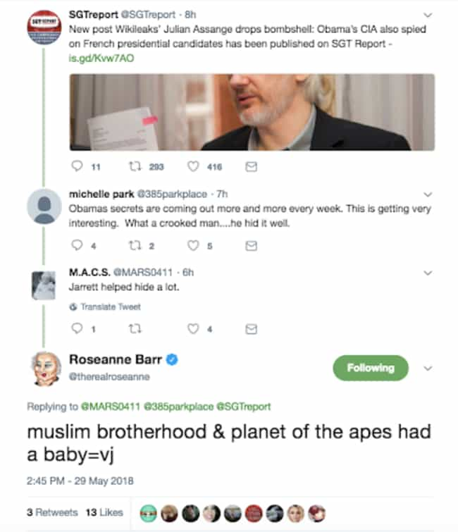 Roseanne Barr's Racist Twe... is listed (or ranked) 2 on the list 37 Celebrity Social Media Posts That Totally Backfired