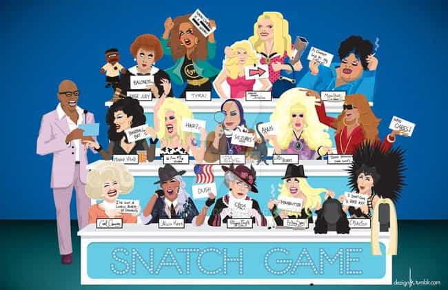 Snatch Game All-Stars is listed (or ranked) 1 on the list Fabulous Fan Art For 'RuPaul's Drag Race'