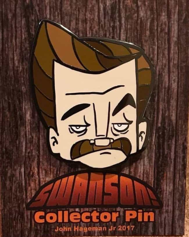 Ron Swanson Enamel Pin is listed (or ranked) 1 on the list The Coolest Exclusive Comic-Con 2018 Merchandise You Can Only Get In San Diego