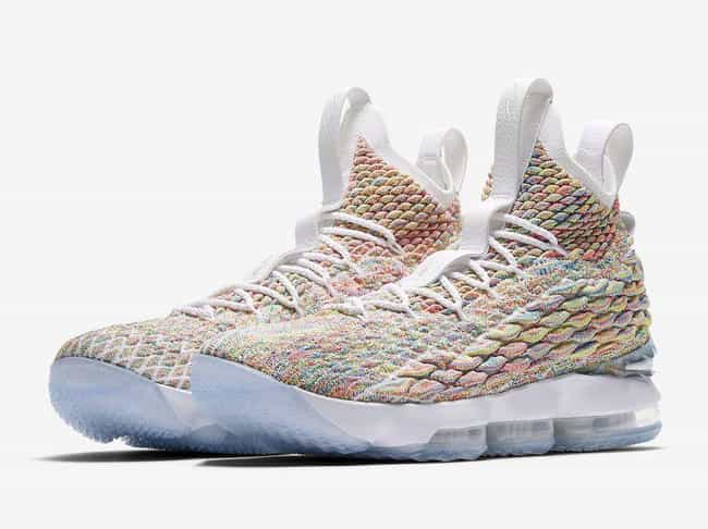 "Nike LeBron 15 ""Fruity Pebbles... is listed (or ranked) 4 on the list The Best LeBron 15 Colorways, Ranked"