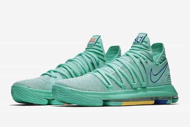 """Nike KD 10 """"Hyper Turquoise"""" is listed (or ranked) 4 on the list The Best KD 10 Colorways, Ranked"""