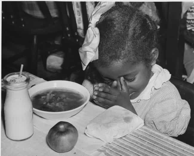 Depression-Era Child Praying O... is listed (or ranked) 2 on the list Here's What School Lunches Used To Look Like