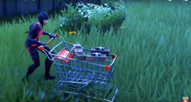 Cover A Shopping Cart In Explo... is listed (or ranked) 1 on the list The Most Ridiculous Ways to Win at Fortnite
