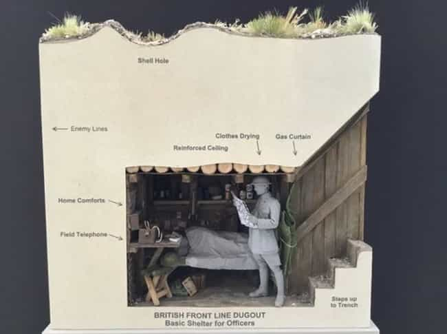 A British Front-Line Dugout is listed (or ranked) 1 on the list This Artist Creates Fascinating Miniature Sculptures Of The Horrors Of The World Wars
