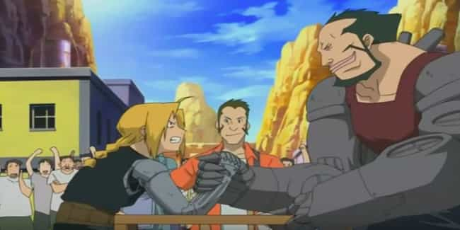 Ed Wrecks A Challenger's A... is listed (or ranked) 3 on the list The 13 Most Epic Arm Wrestling Scenes In Anime History
