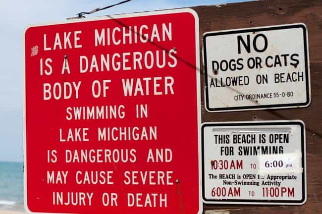 Rip Currents Can Drag Swimmers... is listed (or ranked) 1 on the list All The Reasons To Be Careful Going Swimming in Lake Michigan